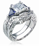 FRIENDS Inspired 1.5 Carat Princess Cut Cubic Zirconia Sapphire Trillion Wedding Set with Contoured Band