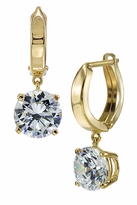 Fusion 2 Carat Each Round Hinged Hoop Huggie Drop Earrings