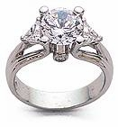 Futuristic Brilliance 2 Carat Round Cubic Zirconia Trillion Engagement Ring