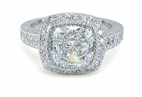 Gervase 2.5 Carat Cushion Cut Square Cubic Zirconia Halo Solitaire Engagement Ring