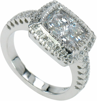 Gervase Pave Halo Cubic Zirconia Solitaire Engagement Ring Series