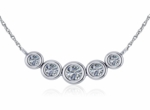 Graduated Round Cubic Zirconia Five Stone Bezel Set Curved Trapeze Necklace