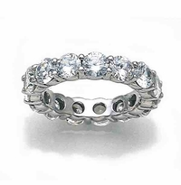 Grand 5mm Each Round Cubic Zirconia Shared Prong Set Eternity Band