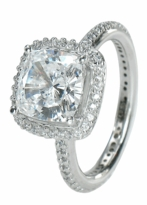 Hamilton Cushion Cut Square Cubic Zirconia Micro Pave Set Round Halo Eternity Engagement Ring Series