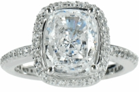 Hamilton Elongated Cushion Cut Cubic Zirconia Micro Pave Set Halo Eternity Engagement Ring Series
