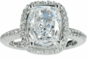 Hamilton Halo 5.5 Carat Elongated Cushion Cut Cubic Zirconia Micro Pave Eternity Solitaire