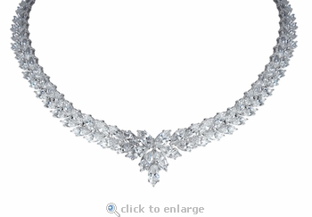 Harlequine Marquise Cubic Zirconia Cluster Estate Style Necklace