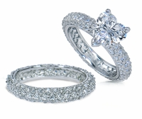 Harmony 2 Carat Heart Micro Pave Eternity Cubic Zirconia Wedding Set