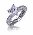 Harmony 2 Carat Heart Cubic Zirconia Micro Pave Eternity Solitaire Engagement Ring