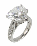 Heart-A-Fire 4 Carat Heart Shaped Cubic Zirconia Pave Cathedral Style Solitaire Engagement Ring