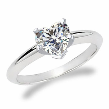 Heart Shape Cubic Zirconia Classic Solitaire Engagement Rings