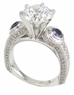 Henslowe 2.5 Carat Round Cubic Zirconia European Style Shank Antique Style Solitaire