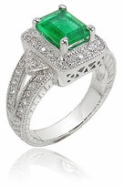 Highland 1.5 Carat Emerald Cut Cubic Zirconia Pave Halo Estate Solitaire Ring