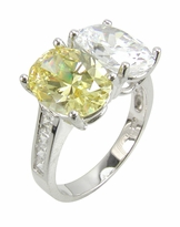 Hilton 2.5 Carat Each Two Stone Oval Cubic Zirconia Solitaire Engagement Ring