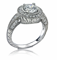 Imperiale 1.25 Carat Round Cubic Zirconia Antique Style Engraved Halo Engagement Ring