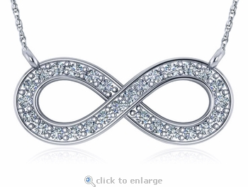 Infinity Sign Trapeze Style Cubic Zirconia Pave Necklace