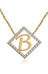 Initial Pendant Pave Set Cubic Zirconia Diamond Shape Halo Necklace