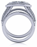 Irina 1 Carat Marquise Bezel Set Pave Halo Cubic Zirconia Split Shank Wedding Set