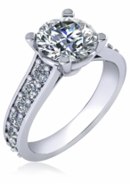 Isabella 2 Carat Round Four Prong Graduated Pave Cathedral Solitaire Engagement Ring