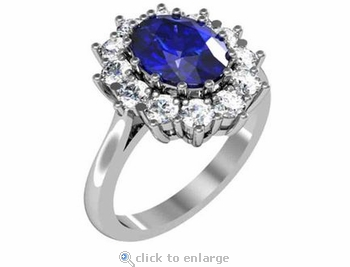 Kate middleton 1 5 carat oval man made sapphire gemstone for Man made sapphire jewelry