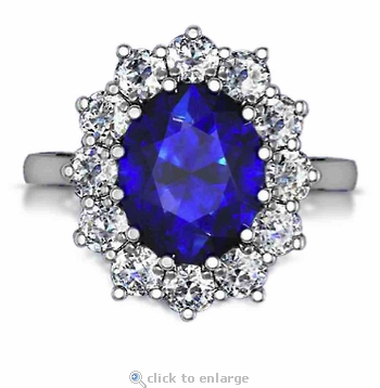 Kate middleton 5 5 carat oval man made sapphire gemstone for Man made sapphire jewelry