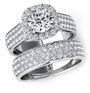 Kensington 1.5 Carat Round Cubic Zirconia Micro Pave Halo Bridal Wedding Set