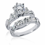 Kingsley 1.5 Carat Round Cubic Zirconia Channel Set Tapered Baguette Wedding Set