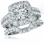Kingston 1.5 Carat Round Cubic Zirconia Halo Bridal Wedding Set
