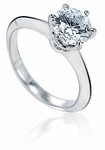 Wellington 1.5 Carat Round Knife Edge Cubic Zirconia Solitaire Engagement Ring