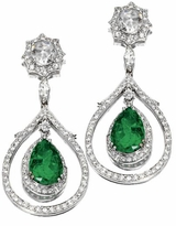 Kristienne 5 Carat Pear Cubic Zirconia Pave Halo Drop Earrings