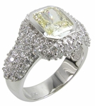 Kronos Emerald Radiant Cut 1 Carat Canary Cubic Zirconia Pave Encrusted Halo Solitaire Engagement Ring
