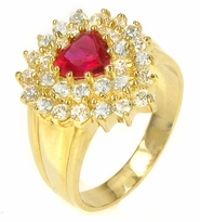 Ladonna 1 Carat Heart Ruby Cubic Zirconia Double Halo Cluster Ring