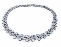 Lafayette Cubic Zirconia Pear Marquise Round Vine Wreath Garland Statement Necklace