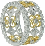 Langham Pave Set Round Antique Style Two Tone Floral Milgrain Band