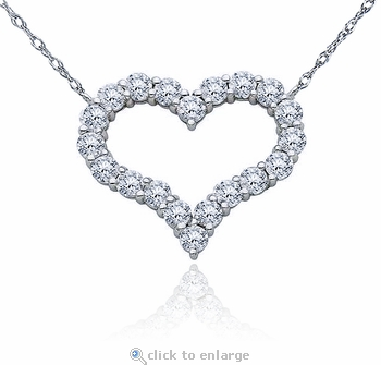 Large Open Heart Prong Set Round Cubic Zirconia Necklace