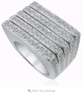 Larissa Pave Set Round Cubic Zirconia Five Row Band