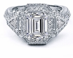 Larnacca 2.5 Carat Emerald Step Cut Cubic Zirconia Trillion Pave Set Round Halo Engagement Ring