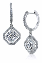 LaRue 1.5 Carat Asscher Cut Halo Micro Pave Cubic Zirconia Hoop Drop Earrings