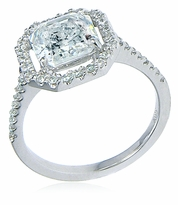 LaRue 1.5 Carat Asscher Inspired Cubic Zirconia Pave Set Round Halo Solitaire Engagement Ring