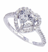 LaRue 1.5 Carat Heart Shape Cubic Zirconia Pave Set Round Halo Solitaire Engagement Ring