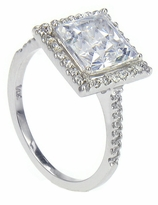 LaRue 1.5 Carat Princess Cut Square Cubic Zirconia Pave Set Round Halo Solitaire Engagement Ring