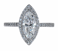 LaRue 2 Carat Marquise Cubic Zirconia Pave Set Round Halo Solitaire Engagement Ring