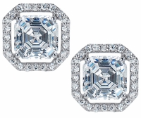 LaRue Asscher Inspired Halo Stud Earrings