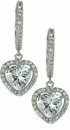 LaRue Halo Cubic Zirconia Micro Pave 1.5 Carat Heart Drop Earrings