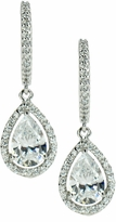 LaRue Halo Cubic Zirconia Micro Pave 1.5 Carat Pear Drop Earrings
