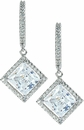 LaRue Halo Cubic Zirconia Micro Pave 1.5 Carat Princess Cut Drop Earrings