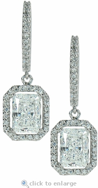 LaRue Halo Cubic Zirconia Micro Pave 1.5 Carat Radiant Emerald Cut Drop Earrings