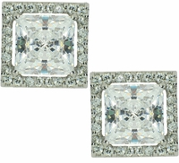 LaRue Princess Cut Cubic Zirconia Halo Stud Earrings