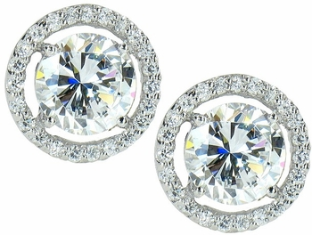 LaRue Round Cubic Zirconia Halo Stud Earrings