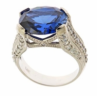 Lateese 9 Carat Man Made Sapphire Oval Gemstone Solitaire Engagement Ring
